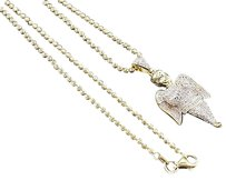 Diamond,Mini,Angel,Pendant,Yellow,Gold,Mens,Fully,Iced,Charm,0.25,Ct.,W,Chain