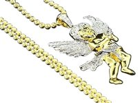 Diamond,Yellow,Gold,Finish,Mini,Angel,3d,Pendant,Charm,0.55,Ct,With,Chain