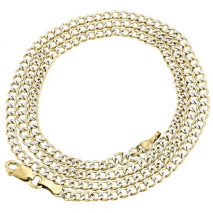Real 10k Yellow Gold 2.5mm Diamond Cut Cuban Link Style Chain Necklace 16-30