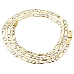 Real 10k Yellow Gold Diamond Cut Figaro Style Chain 3.50mm Necklace 16-30 Inches