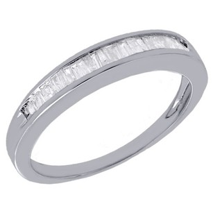 Jewelry For Less Real Diamond Baguette Wedding Band Ring In 925 Sterling Silver 0.25 Ct. 3.25mm