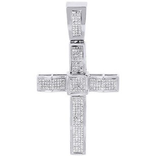 Jewelry For Less Real Diamond Cross Pendant 10k White Gold Round Cut Wavy Pave Charm 0.81 Ct.