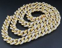 Real Diamond Miami Cuban Chain Mens Sterling Silver Mm Necklace Link Ct.