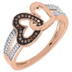 Red Diamond Double Heart Fashion Band 10k Rose Gold Round Cocktail Ring 0.15 Ct.