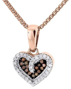 Red Diamond Heart Pendant 10k Rose Gold Round Charm Necklace W Chain 0.10 Ct.