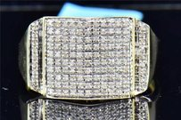 Jewelry For Less Round Cut Diamond Pinky Ring Square Mens 10k Yellow Gold .26 Ct.