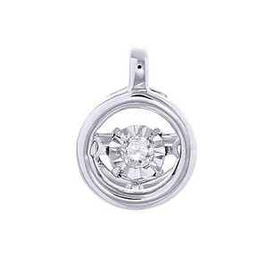 Jewelry For Less Round Dancing Diamond Pendant 10k White Gold Charm Necklace With Chain 0.05 Ct.