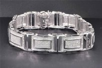 Jewelry For Less Round Diamond Link Bracelet 10k White Gold 3.65 Ct Mens Pave Inch