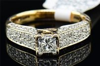 Ladies 14k Yellow Gold Princess Cut Solitaire Diamond Engagement Ring Set .93 Ct