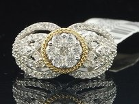 Diamond Flower Engagement Ring 10k White Gold Two Tone Bridal Band 0.94 Ct.