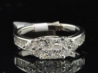 14k Ladies White Gold Princess Cut Diamond Bridal Engagement Ring Band 1.25 Ct.