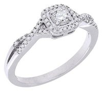 Diamond Engagement Ring Round Cut Solitaire Halo Style 10k White Gold 0.32 Ct