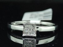 Princess Diamond Square Engagement Ring 14k White Gold 0.10 Ct Promise Ring