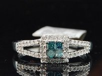 Blue Diamond Engagement Ring 14k White Gold Quad Set Princes Cut 13 Ct