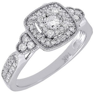 Diamond Engagement Ring Ladies 14k White Gold Solitaire Textured Halo 0.35 Tcw.