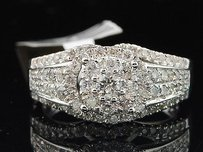 Diamond Flower Engagement Ring W Halo 14k White Gold Round Cut 1.03 Ct