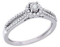 Diamond Engagement Ring Round Cut Solitaire Halo Style 10k White Gold 0.28 Ct.