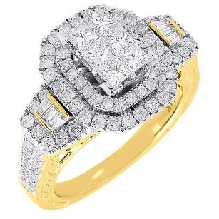 Diamond Wedding Engagement Ring 14k Yellow Gold Princess Cut Halo Style 1.47 Ctw