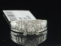 Diamond Engagement Ring 10k White Gold Round Baguette Cut 0.45 Ct