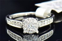 Diamond Engagement Ring 14k White Gold Round Quad Princess Cut 12 Ct