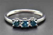Blue Diamond Engagement Ring Ladies 3 Stone Round Promise 10k White Gold 0.50 Ct
