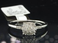 14k White Gold Round Diamond Flower Design Engagement Promise Ring 12 Ct.