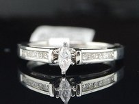 Solitaire Marquise Diamond Engagement Ring 14k White Gold Princess Cut 14 Ct