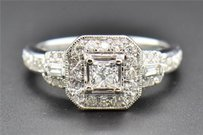 Solitaire Diamond Engagement Ring Princess Cut Ladies 14k White Gold Halo 1 Ct