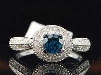 Blue Solitaire Diamond Halo Engagement Ring 10k White Gold Pave 1.16 Ct
