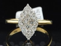 Diamond Engagement Ring 14k Yellow Gold Marquise Shape Princess Cut 12 Ct