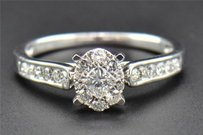 Princess Solitaire Diamond Engagement Ring Round Cut 14k White Gold Oval 0.50 Ct
