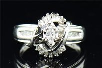 Marquise Solitaire Diamond Engagement Ring 14k White Gold Baguette Cut 0.40 Ct