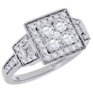 Diamond Engagement Ring 14k White Gold Halo Antique Style Round Cut 1.16 Ct.