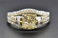 Yellow Diamond Engagement Ring 14k White Gold Round Baguette Cut 0.98 Ct