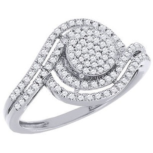 Round Diamond Engagement Wedding Ring Ladies 10k White Gold Halo Style 0.33 Ct.