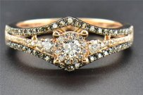 Solitaire Diamond Engagement Ring Brown Halo Round Cut 14k Rose Gold 0.49 Ct