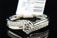 Solitaire Diamond Engagement Ring 14k White Gold Round Cut Band 0.48 Tcw.