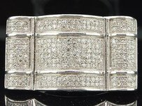 Diamond Ring Mens Designer Sterling Silver Round Cut Pave Fashion Band 0.75 Ct