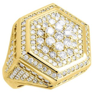 Diamond Pinky Ring Mens Round Cut 14k Yellow Gold Hexagonal Band 4.15 Ct. 22mm
