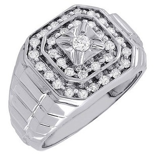 14k White Gold Diamond Fashion Pinky Ring Square Top Pave Mens Band 0.62 Ct.