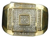 10k,Yellow,Gold,Round,Cut,Diamond,Pave,Square,Fashion,Pinky,Ring,13,Cttw
