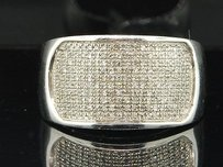 Diamond Pinky Ring .925 White Gold Finish Round Pave Design Mens 0.65 Tcw.