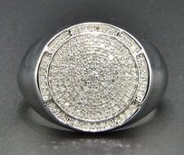 Diamond Pinky Ring 10k White Gold 0.57 Ct. Mens Statement Round Shape Band
