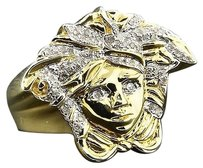 Diamond,Medusa,Pinky,Statement,Ring,.925,Sterling,Silver,Mens,Round,Pave,0.35,Ct