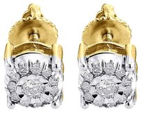 Solitaire,Diamond,Earrings,10k,Yellow,Gold,Mens,Ladies,Round,Studs,0.19,Ct.