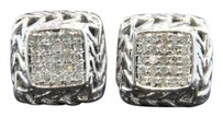 Diamond,Studs,10k,White,Gold,Round,Cut,0.32,Ct,Square,Design,Earrings