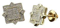 Diamond,Studs,Square,Shape,4,Point,Mens,Ladies,10k,Yellow,Gold,Earrings,0.30,Ct.