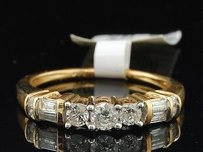 3 Stone Diamond Engagement Ring 14k Yellow Gold Round Baguette Cut 12 Ct