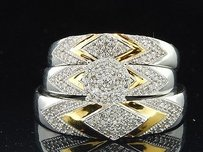Mens Ladies Trio Set White Gold Diamond Engagement Ring Wedding Band Set 0.40 Ct