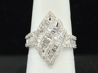 14k Ladies White Gold Baguette Cut Diamond Engagement Ring Wedding Band 1 Ct.